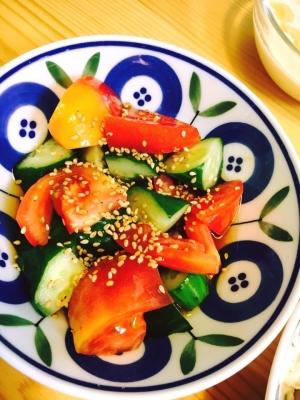 トマトときゅうりの甘酢漬けサラダ