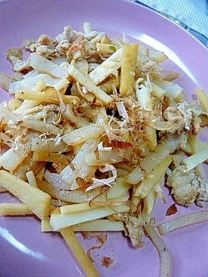 ❤ 筍&豚肉&蒟蒻の炒め物 ゆずポン風味 ❤