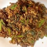 シイタケの甘辛煮とほうれん草の豆腐炒め