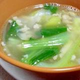 豚ひき肉と筍の中華スープ