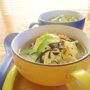 ひじきと豆腐ときゅうりの中華風スープ