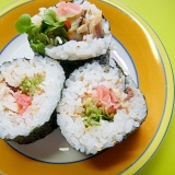 塩サバと甘酢生姜かいわれ大根の巻き寿司