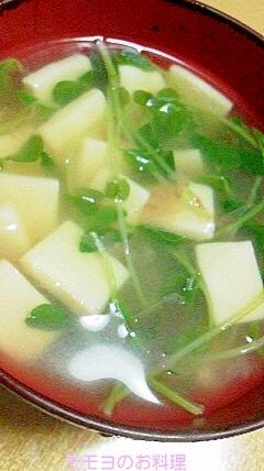 豆苗と高野豆腐のお味噌汁