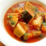 野菜ジュースで❤カボチャ&薩摩芋のスープ♪(花麩)