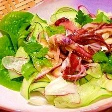 ピラピラ野菜とヤリイカの和風サラダ