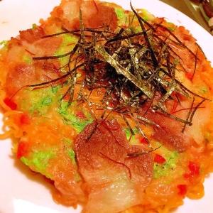 むっちもちサリ麺の韓国風豚チーズモダン焼き