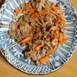 豚肉とエノキのカレー醤油炒め