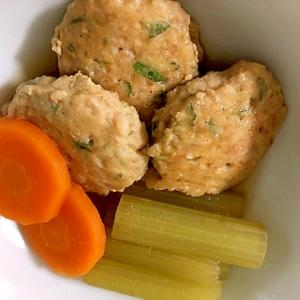ふきと鶏のつくね団子の煮物