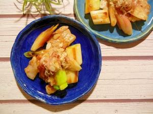 厚切り豚バラ肉とネギとみょうがの甘酢焼き