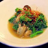 牡蠣と菜花の煮びたし
