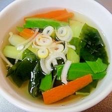 チンゲン菜とわかめの和風スープ