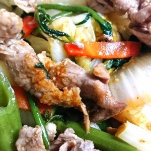 夏には☆空芯菜と豚肉のキムチ炒め