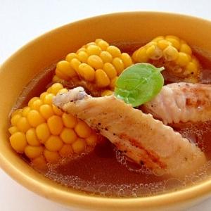 手羽先とコーンのスープ