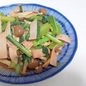 小松菜としめじとハムのピリ辛炒め++