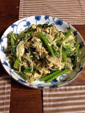 かき菜とモヤシとの卵炒め