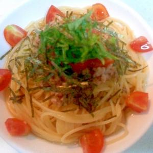 納豆と夏野菜のぶっかけパスタ