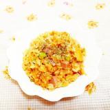 ブロッコリーの茎とソーセージの卵炒飯