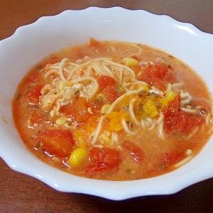 スイートコーンなトマトスープ素麺パスタ風