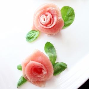 生ハムの薔薇の花の飾り切り☆お祝いおもてなしに♪