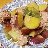 豚肉とサツマイモとピーマンの煮物