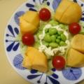 レタス 、枝豆、ミニトマト、柿のサラダ