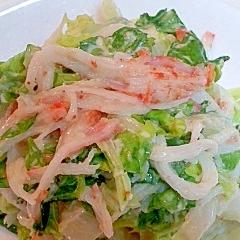 カニかまと干し白菜のごまマヨサラダ