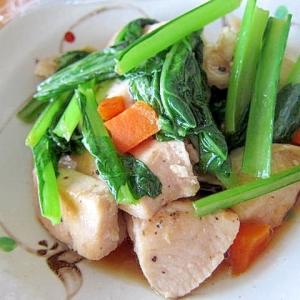 鶏肉人参小松菜生姜焼き