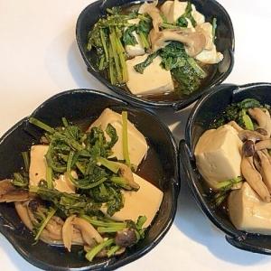 大根の葉としめじと豆腐で☆すき焼きのタレ煮込み