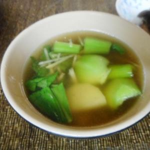 ちんげん菜とジャガ芋、新生姜のスープ
