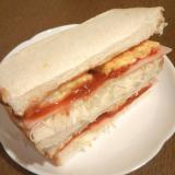 卵焼き&ハム&キャベツのサンドイッチ