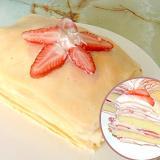 クレープとケーキと苺で!少し大きなミルクレープ♪