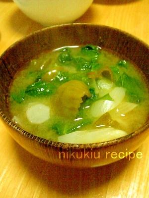ピーマン・ビタミン菜・たまねぎ・大根の味噌汁