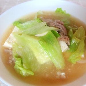 豚肉、豆腐、レタスのスープ
