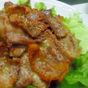 厚切り豚ばら肉のガーリック焼き