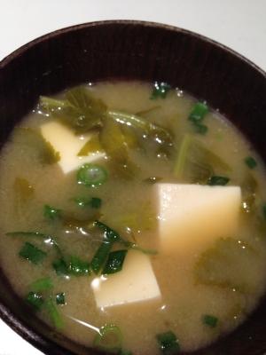 大根の葉と豆腐の味噌汁♡