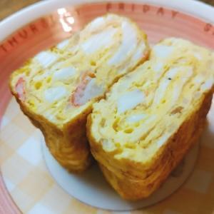 卵1個☆タルタルとカニカマの卵焼き