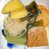 さつま芋、結びおでんこんぶ、しらたき、蕗の煮物