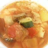キムチ入りピリ辛スープ