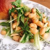 【亜麻仁油使用】水菜と蒸し大豆のさっぱりサラダ
