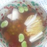 白菜空豆枝豆とまと生姜昆布出汁スープ