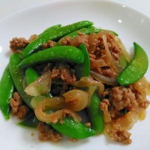 旬の一品☆挽き肉とスナップエンドウの甘辛炒め