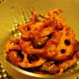 蓮根と椎茸のトマトカレー炒め