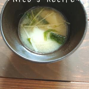 じゃがいもと水菜の味噌汁