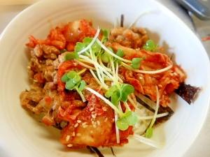 キムチとカイワレの納豆小丼