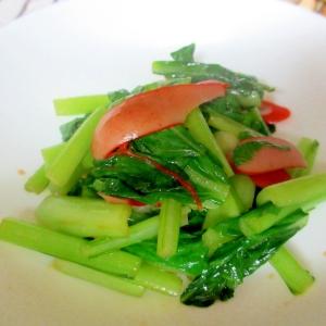 小松菜とウィンナーのソース炒め