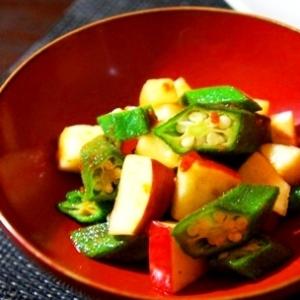 5分で一品、美肌和え、オクラとりんごの韓国風