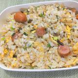 ウインナー、椎茸、万能ネギ、卵の炒飯