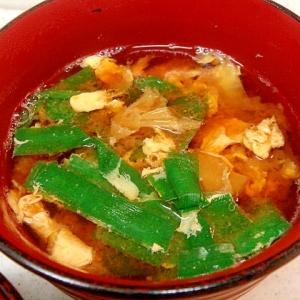 白菜とニラのかきたま味噌汁