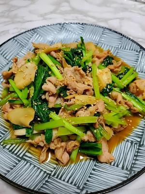 小松菜とエリンギの豚オイスター炒め