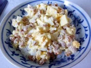 ☆ボリューム満点♪ ゆで卵&チーズ入り納豆☆